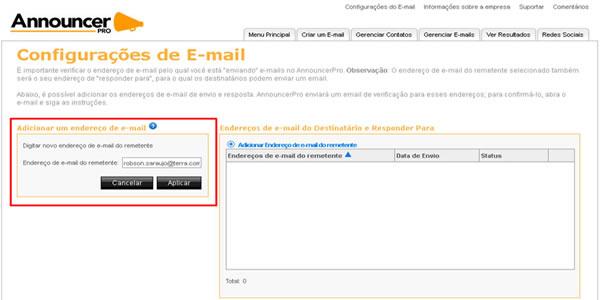 4d072d3a2 A janela a esquerda será habilitada para inserir o email desejado. Digite o  email e clique em Aplicar